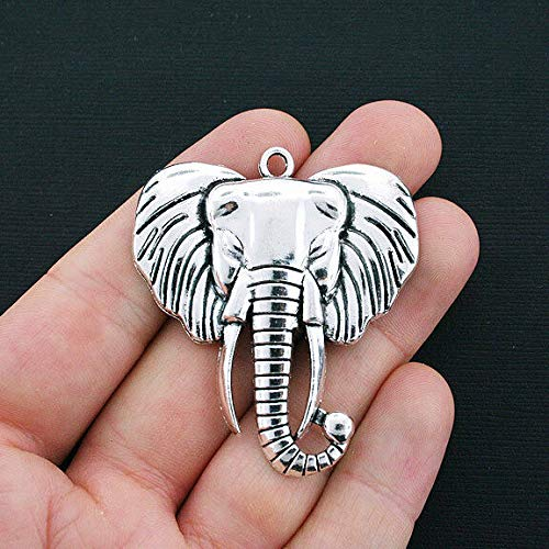 - Pendant Jewelry Making for Bracelets and Chains Large Elephant Charm Antique Silver Tone - SC4326