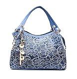 BBPPDD Handbag Womens Shoulder Bag Casual Signature Printing Pu Leather Tote Top Handle (Blue)