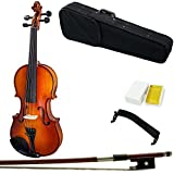 Paititi 14'' Size Upgrade Solid Wood Ebony Fitted Viola With Case Bow, Shoulder Rest and Rosin (14'')