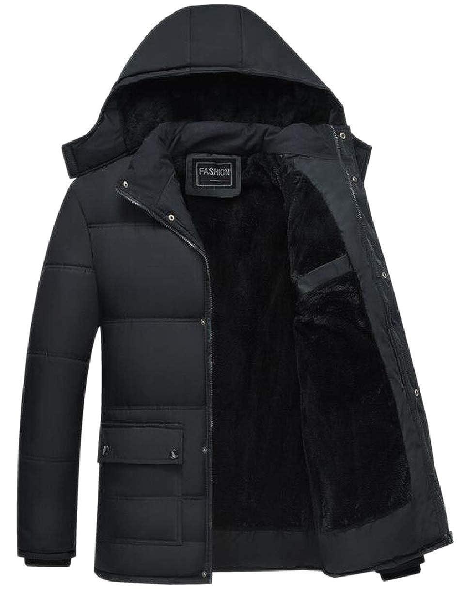 CBTLVSN Mens Zipper Up Velvet Thicken Warm Oversize Hood Pocketed Down Jackets