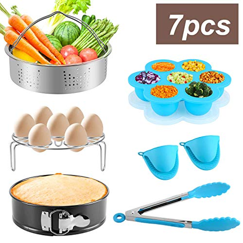 6 Piece Pot - 7-Piece Accessories Set Compatible with Instant Pot For 5 6 8Qt,Instant pot Pressure Cooker with Steamer Basket,Egg Steamer Rack,Egg Bites Molds,Non-stick Springform Pan,Kitchen Tongs (6)