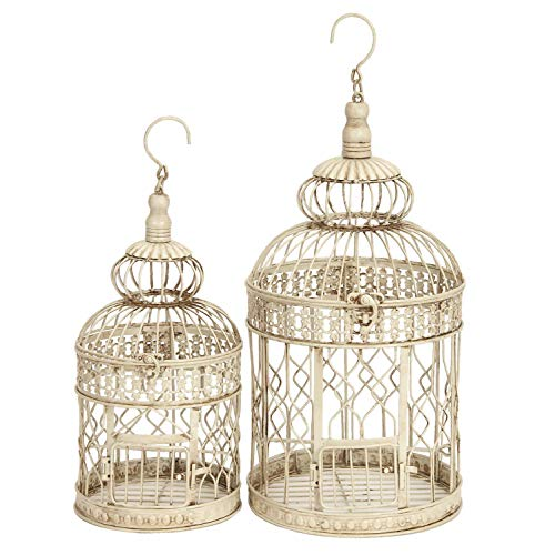 Deco 79 Metal Wall Hanging Bird Cage, 22-Inch and 18-Inch, Set of 2