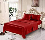 Satin Sheets Twin [3-Piece, Burgundy] Hotel Luxury Silky Bed Sheets - Extra Soft 1800 Microfiber Sheet Set, Wrinkle, Fade, Stain Resistant - Deep Pocket Fitted Sheet, Flat Sheet, Pillow Cases