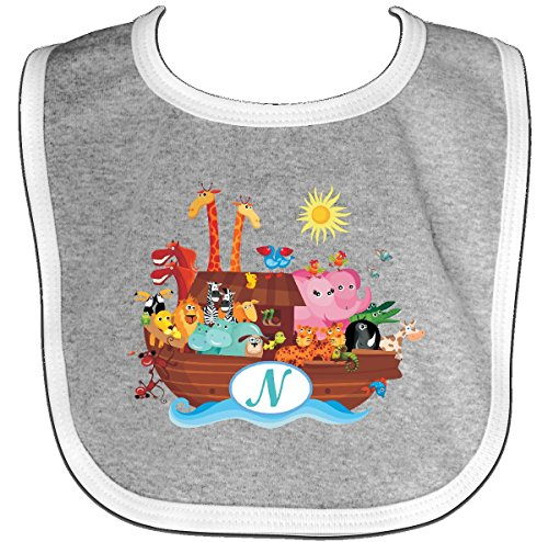 Inktastic - Animal Ark Letter N Monogram Baby Bib Heather/White 222c3 (Bib Initial Baby)