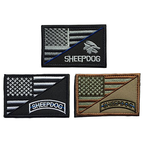 - SpaceCar Bundle 3pcs Decorative Sheepdog w/ USA American Flag Thin Blue Line Embroidered Military Army Tactical Morale Badge Emblem Decal Patch 3