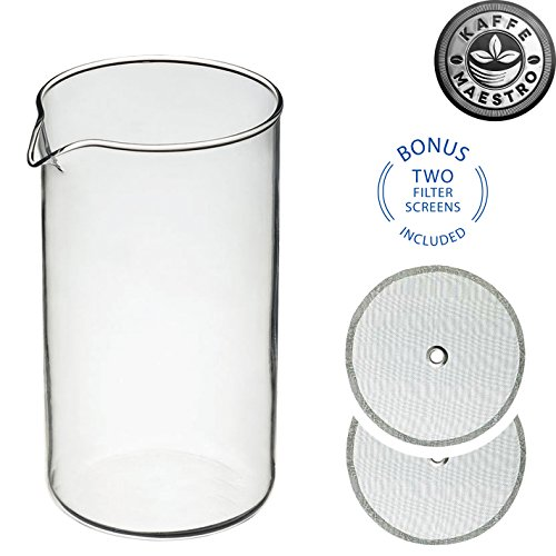 Kaffe Maestro Universal French Press Replacement Glass Beaker Kit, 8-cup / 34 Oz / 1000 ml , with Two 18/8 Premium Stainless Steel Filter Screens ()