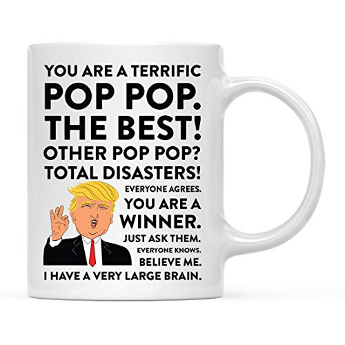 Andaz Press Funny President Donald Trump 11oz. Coffee Mug Gift, Terrific Pop Pop, 1-Pack, Hot Chocolate Christmas Birthday Drinking Cup Republican Political Satire for Family in Laws ()