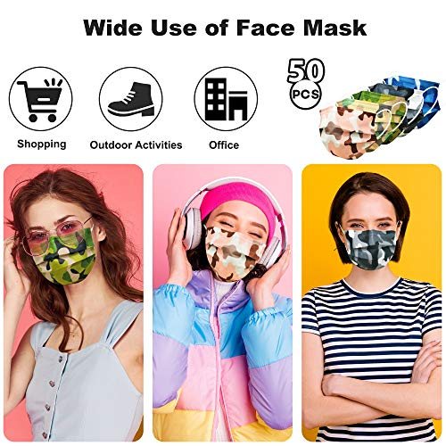 Camo Face Mask, Disposable Face Mask Breathable for Adult Men Women, 3ply Printed Mask Individually Wrapped 50 Pack