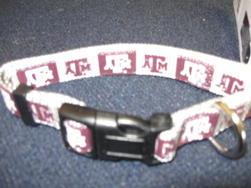"""NCAA Texas A&M Aggies Maroon-Gray Med. Pet Collar 14""""-20"""" neck"""