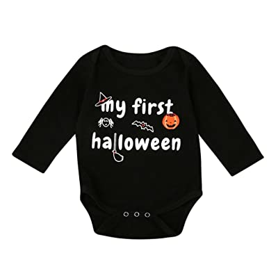 Adorable Baby Boys Girls My First Halloween Long Sleeve Romper Jumpsuit Palysuit Outfit Clothes