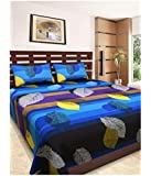 Reliable Trends Blue Leaves Queen Size Elastic Fitted Bedsheets