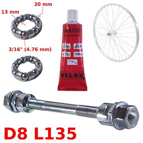 Bearing Axle Ball (SET SOLID SILVER FRONT AXLE 8 x 135 MM + BALL BEARING 3/16