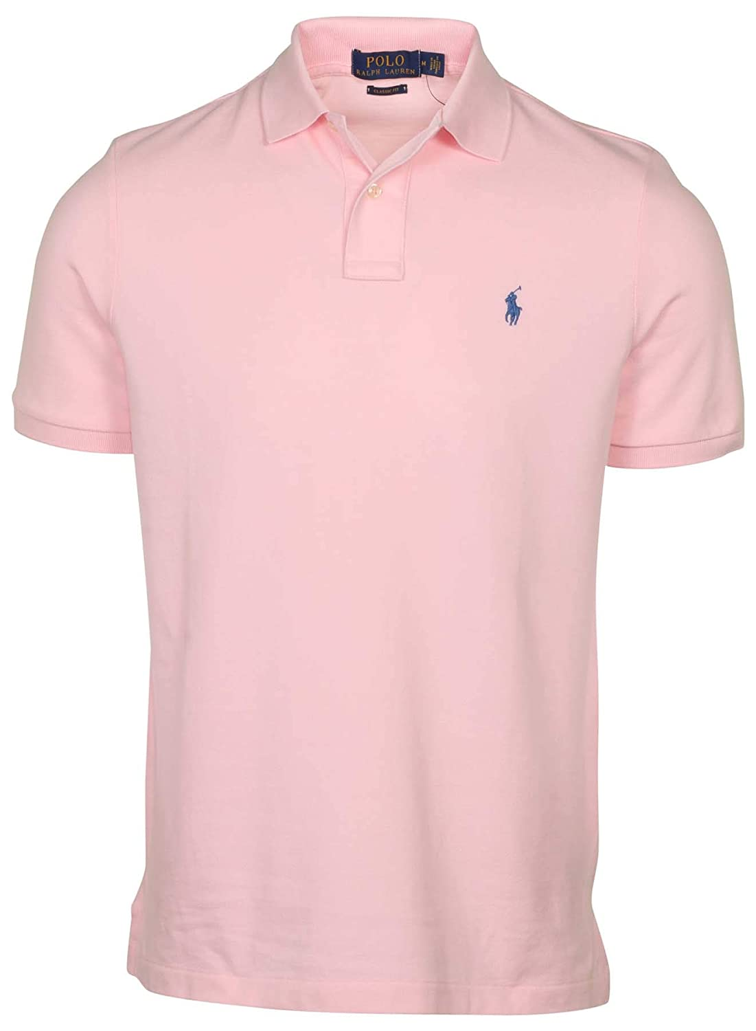 NWT Ralph Lauren Classic Fit Peach Pink Mesh Polo Shirt//Green Pony
