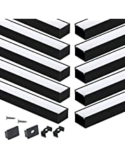 Muzata Black LED Channel with Spotless Lighting Effect Frosted Diffuser Cover,16mm Wide Aluminum Profile Track for Waterproof Strip Light Philips Hue Plus 10Pack 3.3Ft U103 BW 1M,LU2 LP1 LN1 LW1