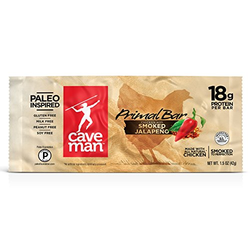 Caveman Foods Paleo Primal Bar, Smoked Jalapeno, 12 Count, 1.5 oz
