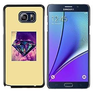Diamante amarillo impresiones de la gema púrpura- Metal de aluminio y de plástico duro Caja del teléfono - Negro - Samsung Galaxy Note5 / N920