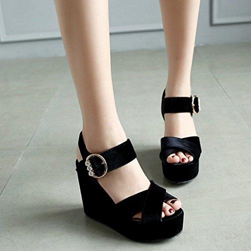 Black TAOFFEN Elegant Shoes Heel Toe Slingback Buckle Women Peep Wedges Sandals wvwrPq