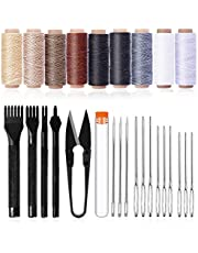 26Pcs Leather Sewing Tools, Leather Craft Hand Stitching Tools Leather Hole Punches Lacing Stitching Punch Tool Waxed Thread and Large-Eye Stitching Needles for Leather Working Crafting
