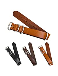 CIVO Genuine Grain Leather NATO Zulu Military Swiss G10 Watch Band Strap 18mm 20mm 22mm Stainless Steel Buckle (Brown, 20mm)