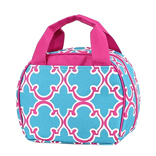 Blue Quatrefoil Design Polyester 7.75 inch Insulated Lunch Bag