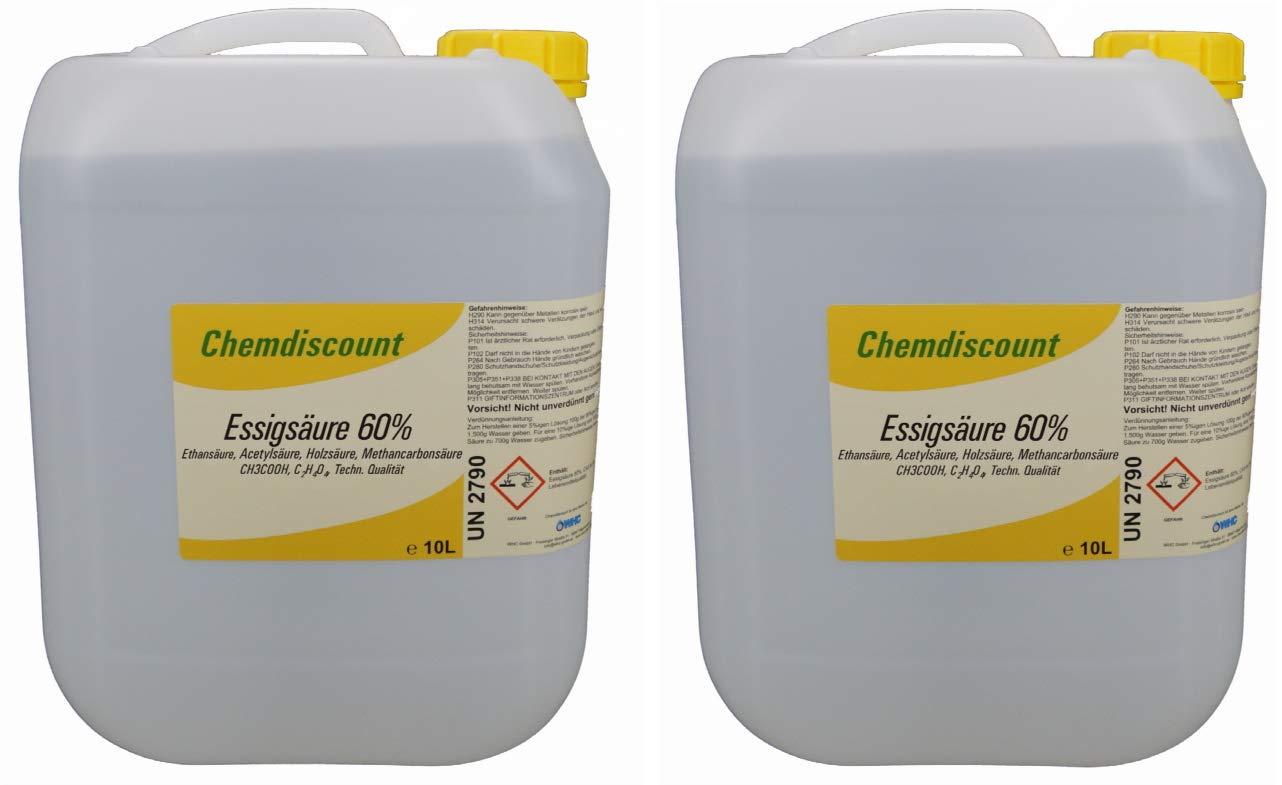 cadf8ab8425c Chemdiscount Lot de 2 bidons d acide acétique à 60% 10 litres chacun .