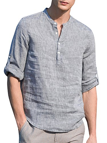 SySea Mens Casual V Neck Cotton Linen 3/4 Sleeve Hippie Shirts Banded Collar Henley Tops with Buttons Grey