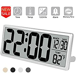 TXL 13.9 Jumbo Digital Alarm Clock Extra Large LCD Display 4.6 Bold Font Calendar, 12/24 Mode Temperature Battery Operate Office Kitchen Desk/Wall Clock, Button Cell Battery Backup included, Silver