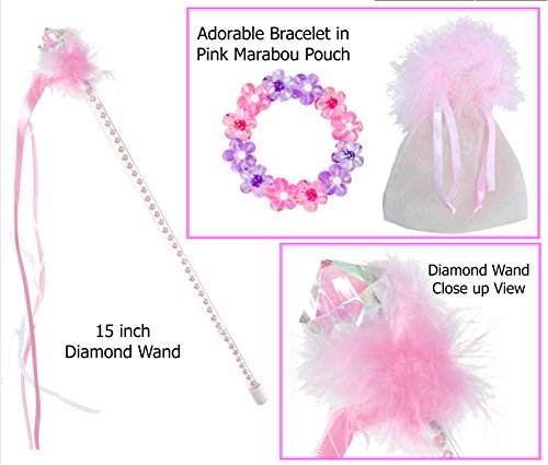 Diamond Wand with Pink Marabou Includes Pink & Purple Flower Bracelet - Princess Stocking Stuffers by Multiple