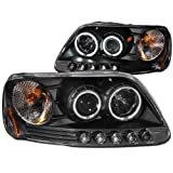Anzo USA 111097 Ford F-150 Black Clear Projector With Halos Headlight Assembly - (Sold in Pairs)