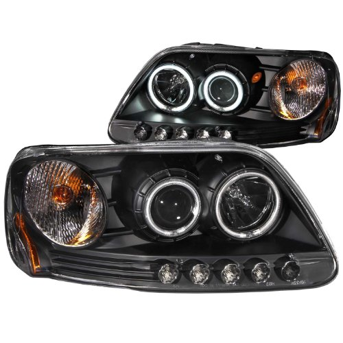 Anzo USA 111097 Ford F-150 Black Clear Projector With Halos Headlight Assembly - (Sold in Pairs) ()