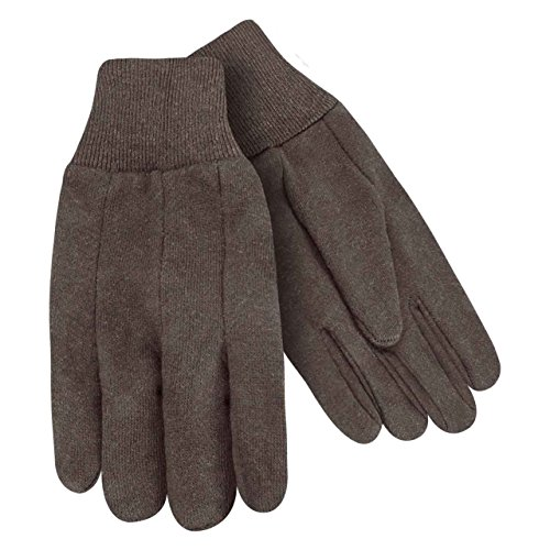 - Steiner 00192 Cotton Brown Jersey 9 oz Gloves, Knit Wrist Cuff, Large, 12 pack