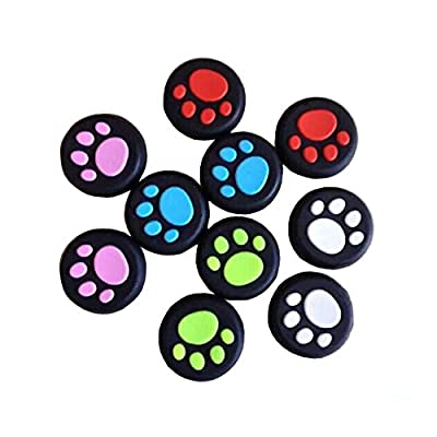 Gotor 10pcs Cat Pad Replacement Soft Silicone Analog Controller Joystick Thumb Stick Grip Cap Cover for PS4, PS3, Xbox 360, Xbox One S Controller from Gotor