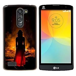 Eason Shop / Premium SLIM PC / Aliminium Casa Carcasa Funda Case Bandera Cover - Moda Mujer Vestido Rojo Fuego - For LG L Prime D337 / L Bello D337