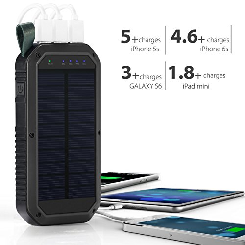 Ayyie Solar Charger Portable Charger Power Bank with 3-USB Outports & 21  LED Flashlights, 8000mAh Backup Battery Pack Phone Charger for Camping,