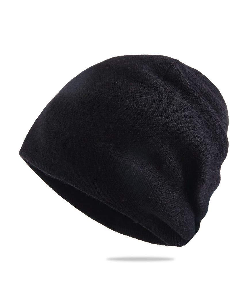 KUMONE Men Cashmere Beanie Hat Winter Wool Skull Cap Unisex, Black