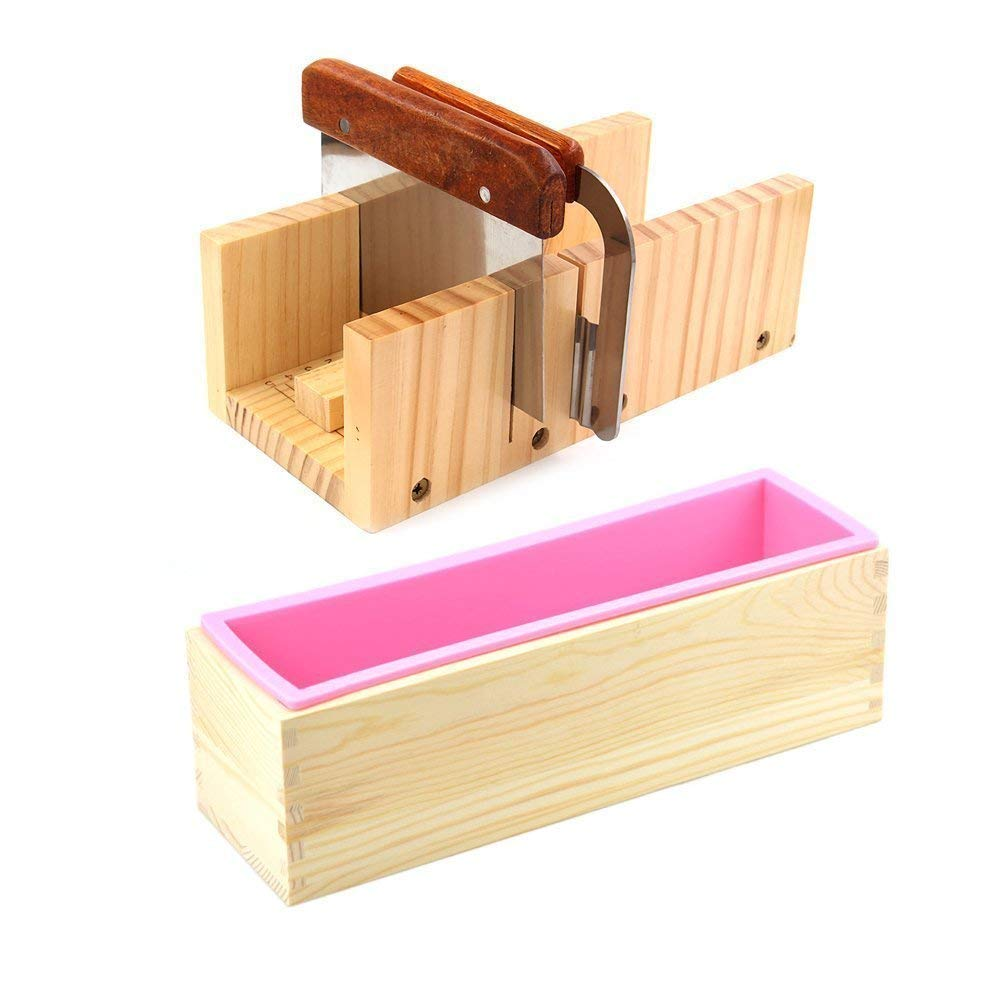 ESA Supplies Wooden Soap Loaf Cutter Mold and Soap Cutter Set + 1 pc Rectangle Silicone Mold with Wood Box + 1 pc Straight Cutter + 1 pc Wavy Cutter by ESA Supplies