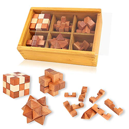 Wooden Puzzles Brain Teaser 3D Burr Puzzles Jigsaw Lock for Adults Kids IQ Test Toys Games Gift Set Interlocking Cube Blocks ()