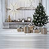 KSZUT 10x10ft Christmas Tree Gift Photography Backdrop Wooden Candle Winter Background Christmas Party Photo Background Studio Props DZ-868