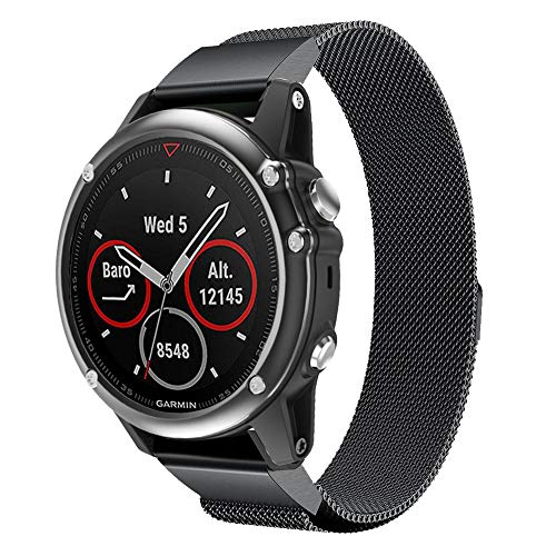 Voberry- Compatible for Garmin Fenix 5X/5X Plus, Milanese Magnetic Quick Install WatchBand Strap for Garmin Fenix 5X/5X Plus (Black)