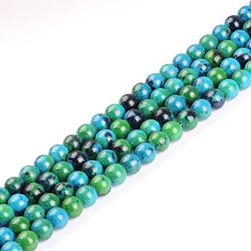 Chrysocolla Round Beads - Natural Stone Beads 6mm Chrysocolla Beads Gemstone Round Loose Beads Crystal Energy Stone Healing Power for Jewelry Making DIY,1 Strand 15
