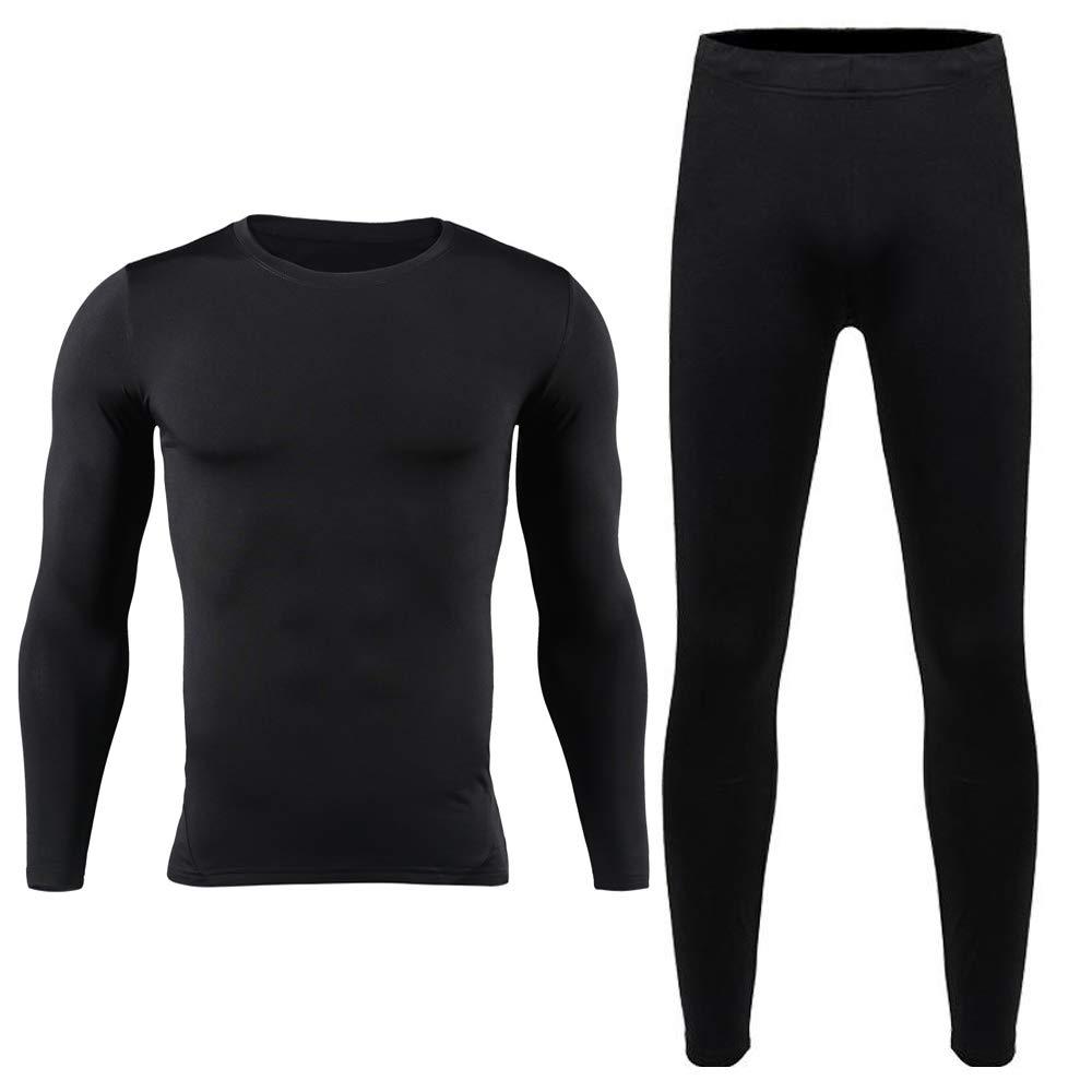 HEROBIKER Men Cotton Thermal Underwear Set Motorcycle Skiing Winter Warm Base Layers Tight Long Johns Tops & Pants Set Black L