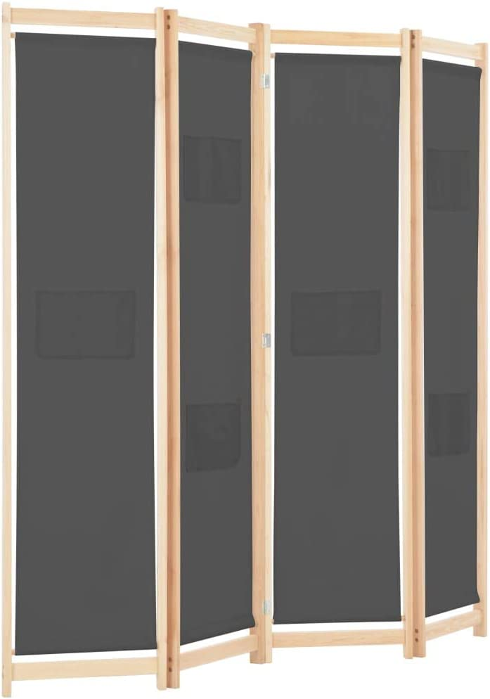 Festnight Biombo Divisor Plegable 4 Paneles de Tela Separador de Ambientes Plegable, Divisor de Habitaciones, Gris 160x170x4 cm: Amazon.es: Hogar