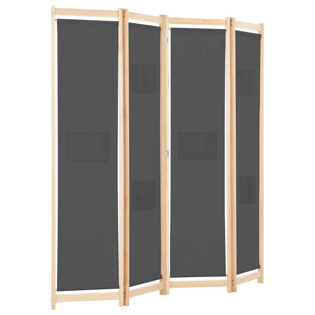 vidaXL 4-Panel Room Divider Home Bedroom Folding Privacy Panel Screen Wall Partition Separator Paravent Section Grey 160x170x4cm Fabric