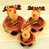 ZYN Set of 3 Christmas Candy Baskets Container Decorative Candy Gift Container Bottle Jar Party Hotel Home Decor Reindeer
