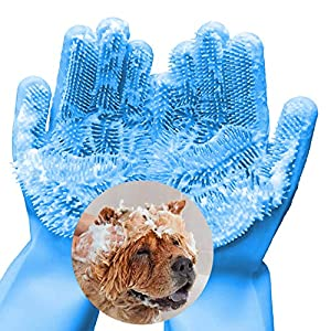 FecPecu Pet Grooming Gloves, Dog Bathing Shampoo Gloves with High Density Teeth, Silicone Hair Removal Gloves with…
