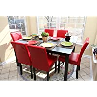7 pc Red Leather 6 Person Table and Chairs red Dining Dinette - Red Parson Chair