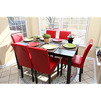 Amazon Com Retro White Round Dining Table Red Chairs