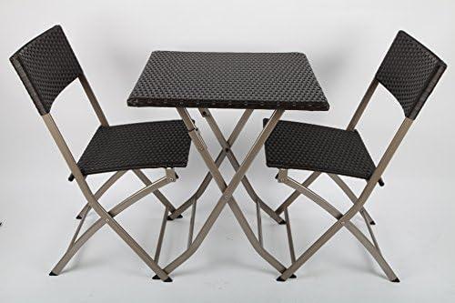 point-garden Gartenmöbel Polyrattan Tisch + 2 Stühle