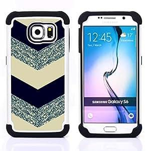 For Samsung Galaxy S6 G9200 - chevron pattern glitter silver black Dual Layer caso de Shell HUELGA Impacto pata de cabra con im????genes gr????ficas Steam - Funny Shop -