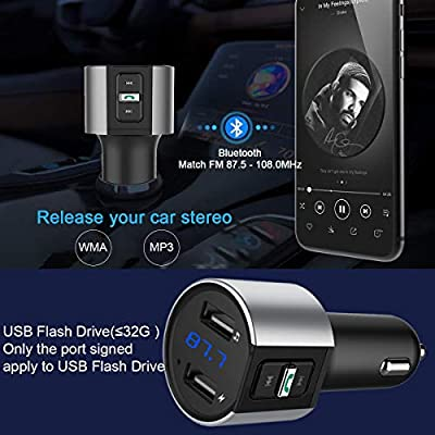 Baile Bluetooth FM Transmitter for Car, Wireless Bluetooth FM Radio Adapter Car Kit with Hands-Free Calling and 2 Ports USB Charger: Car Electronics